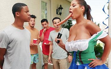 Hardest Oktoberfest group sex for drunk tie the knot