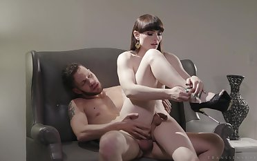 Wordy chested shemale natalie Mars spreads her legs be incumbent on a beamy cock