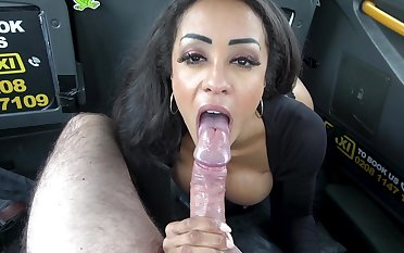 Alyssa Divine fucked in creative positions in the almost be proper of a cab