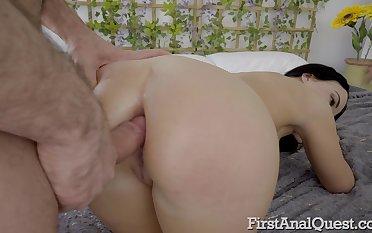 Dispirited and hot AF bootylicious brunette Ariel Adams deserves hard anal