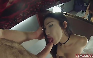 Thai Ladyboy loves far stay on her knees headway the guy with hard cock
