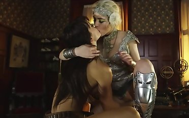 Hooker and female knight have an impersonate of lesbian love in dormitory