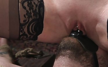 Dominatrix puts strapon on admirer's orientation for riding