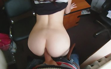 Redhead babe is having doggystyle sex int he post with her co-worker