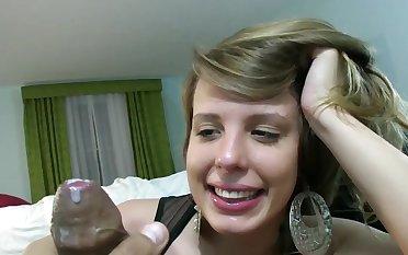 Cute girl in an amazing pair of earrings sucks a dick in POV