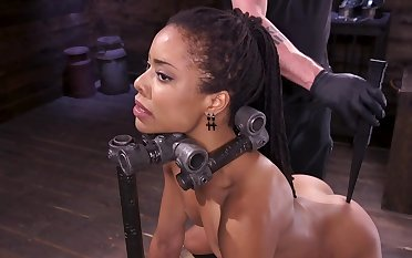 Incredibly chap-fallen ebony slave girl gets distressful by her master