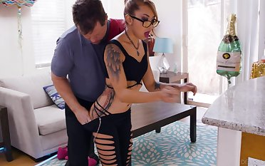 Sexy tattooed Asian gets undressed and fucked constant from behind