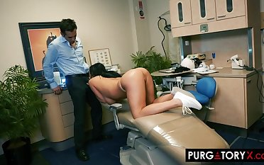 Smoking hot brunette with big tits is having hardcore sex with her handsome dentist, in his designation