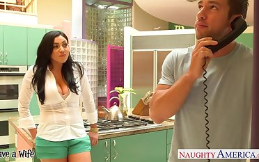 Big titted at great cost Audrey Bitoni fucks a to a great extent endowed married man