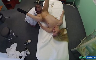 Blonde tourist gets a full examination