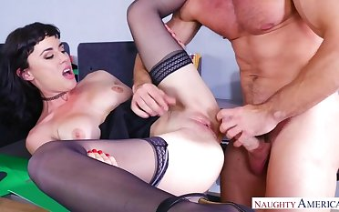 Olive Glass fucking in the chair with will not hear of natural tits