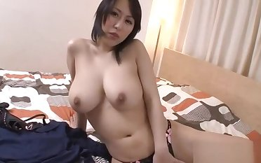 Massive tits Asian stimulates her cunt adjacent to lusty insertions