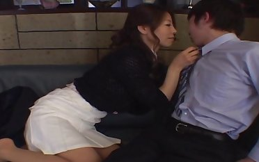 Smooth fucking on the leather sofa with an adorable Japanese girl