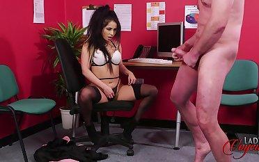 Naughty copier Jasmine Lace watches her boss jerking off