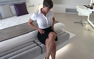 Sexy secretary wringing wet raiment castle in the air