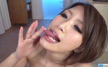 Yume Mizuki swallows fresh jizz after a climax oral trio