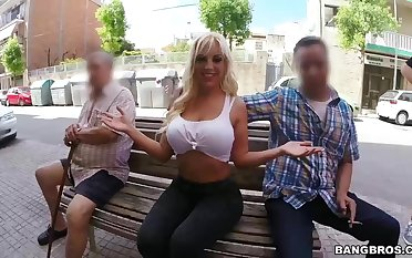 Street whore respecting big bore Blondie Fesser picks up one toff for red-letter sex relaxation