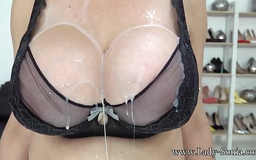 Lady Sonia loves instantly you cover her tits with regard to cum