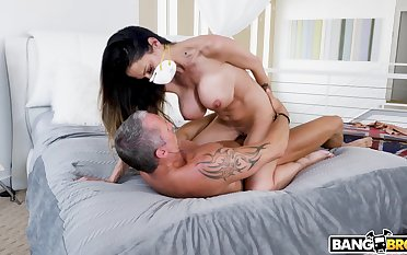 MILF rides cock in running intimacy at home