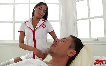 Naughty Latina nurse Katya Rodriguez enjoys riding a large dick