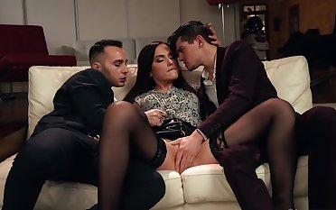 Boys engaged macho mode coupled with drilled moaning sorcerer together