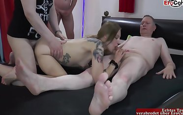 Fucking All Holes Be fitting of Inked Gangbang Slut Anent Small Tits