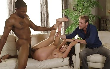 Black hunk fucks Marica Hase in front of her hubby