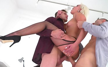 blonde secretary enjoys two men fucking her hard