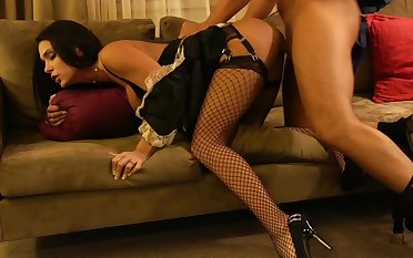 Jessica Jaymes in a maid's outfit, in my hotel room!