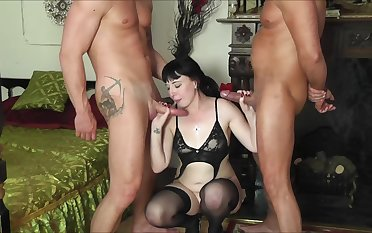 Mature brunette in stockings Filthy Emma pounded by two guys
