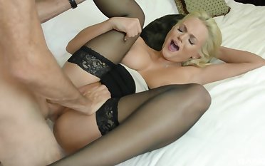 Busty blonde bombshell Katy Jane rides dick in stockings