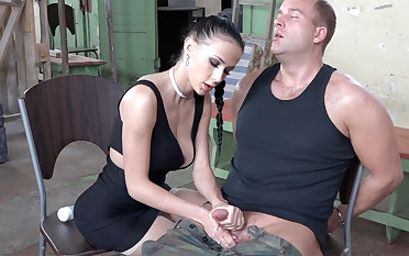 Sexy brunette act with dick of military