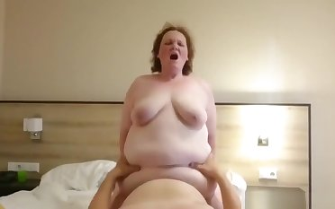Fat Granny Lola Likes TO Ride The brush Horny Hubby!