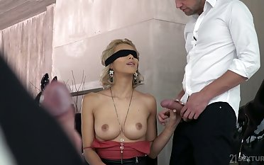 Blind folded blonde Veronica Leal gives a blowjob before a hardcore DP sex