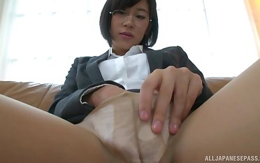 Fingering plus squirting are fabulous experience be required of nerdy Sasaki Rei