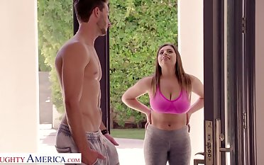 Gaffer chick with big ass Ella Knox gives a titjob plus blowjob in the air her neighbor