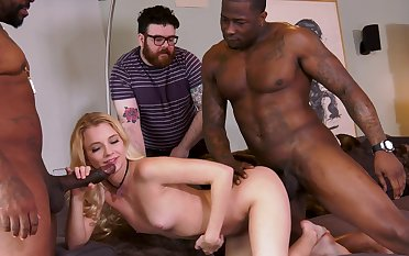 Extreme cuckold with Riley Personality and two black hunks