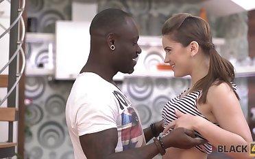 Charming sallow teen Evelina Darling is making love with ebony boyfriend