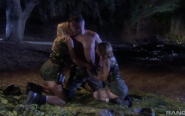 Midnight hard sex with a hot man for both these army milfs
